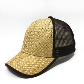 东莞制帽厂 草席布料夏季防晒网帽 可定制logo成人鸭舌帽子