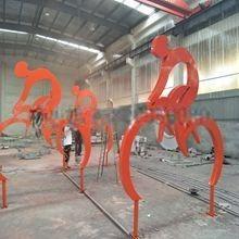 景观园林不锈钢自行车抽象雕塑 扬州雕塑厂家直销景观装饰小品