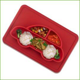 儿童婴幼儿喂养餐具 一体式分格餐盘小汽车硅胶儿童餐盘