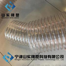 山实供应透明伸缩钢丝软管,热塑性弹性体塑料钢丝缠绕吸尘管,除尘管,耐高温伸缩管