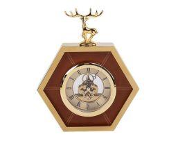 简约创意金棕色六边形金属皮革鹿头仔钟表时钟摆台座钟样板间摆件
