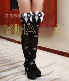 情趣絲襪批發 萬聖節專賣2016新款時尚骷髏頭蝴蝶結天鵝絨長統襪
