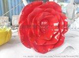 景區觀光逼真玻璃鋼植物玫瑰花雕塑