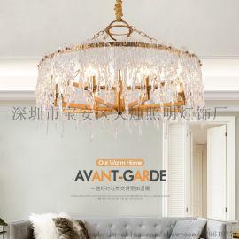臥室水晶吊燈房間燈複式樓高檔超亮led燈強光吊燈