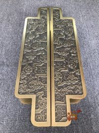 黄古铜铝板雕刻拉手、浮雕祥云门把手心细入微的工艺