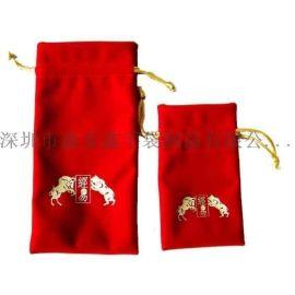 厂家专业生产红色绒布束口袋