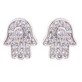伊泰蓮娜電鍍微鑲鋯石銅耳釘 925純銀耳墜飾品定制