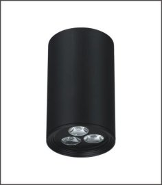 LED明装筒灯 大功率3W 砂黑明装筒灯商业工程照明灯具