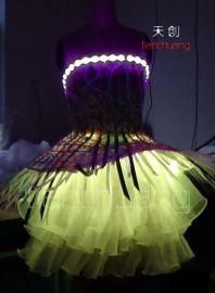 天创专业定制夜场发光婚纱 LED发光服荧光服 夜光服礼服 舞蹈服