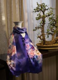 真丝围巾定制加工可染色印花刺绣