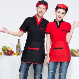 夏季工作服短袖餐饮火锅店西餐厅蛋糕店服务员T恤定制