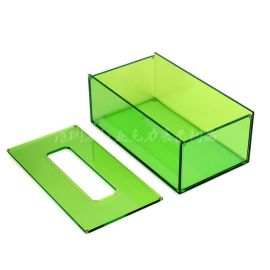 厂家定制沉盖纸巾盒亚克力长方形抽纸盒荧光绿盒欧式客厅餐巾纸盒