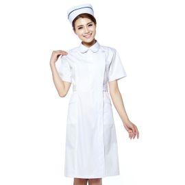护士服短袖夏医生服美容服 白大褂颜色齐全偏襟修身定做店标logo