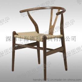 新款上市 美式乡村实木椅子 快餐厅曲木椅 创意椅子实木餐椅