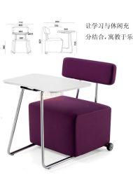 供应深圳众晟家具ZS-SF01组合式学习椅 多功能培训椅 培训沙发带写字板 单人位学习休闲沙发