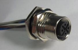 以太网M12法兰接口,M12嵌入式连接器接口,5芯8芯12芯M12以太网法兰连接器接头接口