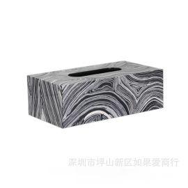 黑色长方形沙纹纹理钢琴烤漆木质纸巾盒欧式创意客厅卧室酒店摆件