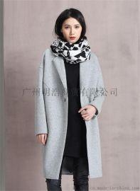 新款优质  双面昵大衣品牌女装专柜折扣  就到广州明浩