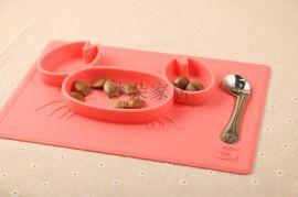 创意家用硅胶餐盘 儿童一体式餐盘 辅食餐具防摔防烫