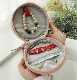 韩国珠宝首饰收纳合圆形女士耳环项链戒指帆布收纳盒