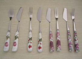 陶瓷柄不锈钢月饼刀叉二件套 (FB-D09)