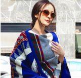 2015楊冪米蘭同款彩色幾何圍巾波西米亞民族風加大厚羊絨圍巾
