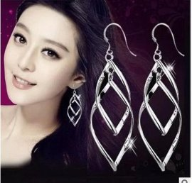 S990纯银双扭韩版耳坠流苏耳环 耳坠长款个性耳环韩国夸张耳饰