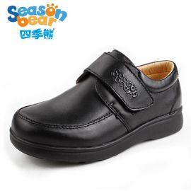 四季熊  皮鞋中大童儿童真皮黑色童鞋新款单鞋学生礼服鞋演出鞋