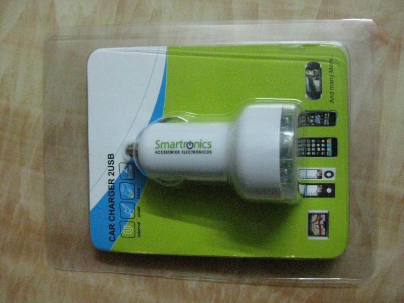 透明蓋雙USB車載充電器2.4A+1A雙USB車充