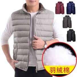 冬季加厚男式马甲冬季厚款丝棉光板广告马夹来图印字