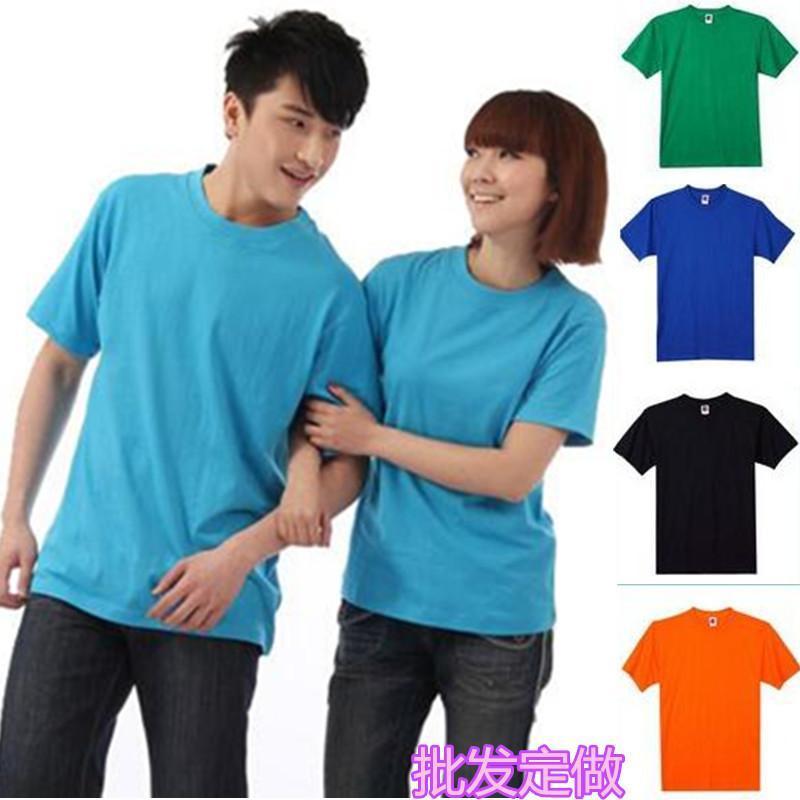 廠家現貨批發純棉多色空白T恤衫短袖工作服宣傳促銷廣告衫印LOGO