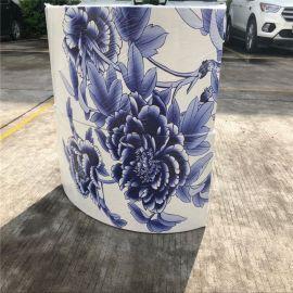 **圆柱青花瓷打印铝单板 广东专业UV打印铝板