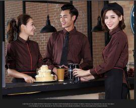 酒店工作服春夏装咖啡厅服务员工作服长袖西餐厅前台咖啡色制服