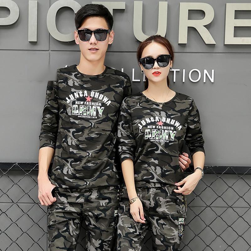 迷彩服情侶套裝春季新款男士軍裝學生軍訓兩件套女水兵舞演出服