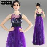 多丽琦晚礼服,紫色刺绣露背性感蓬蓬裙礼服