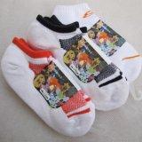 纯棉中童运动袜  毛圈底童袜  船袜