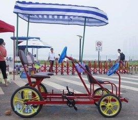 联排四人自行车四轮观光车景区出租双人单车情侣车