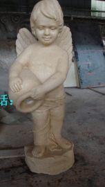 砂岩小天使圆雕人造仿汉白玉欧式女孩雕塑厂家