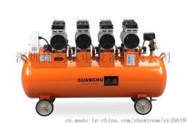 广虎850W四机头无油静音气泵空压机静音无油打气泵工业空压机压缩机
