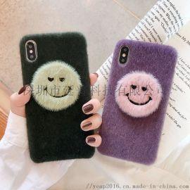 现货创意笑脸卡通毛绒苹果保护套适用iphone11pro手机壳 新款