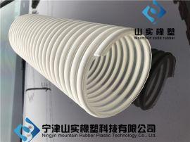 防静电白筋骨架吸料管TPU螺旋塑筋波纹管食品级粉末输送管150mm
