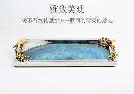 藍色瑪瑙石水墨畫圖案歐式簡約樣板間客廳裝飾玻璃不鏽鋼託盤擺件