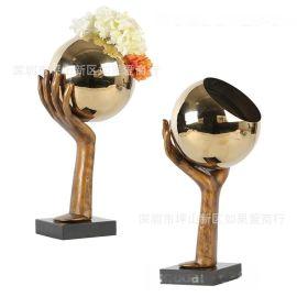 金古銅色鑄鐵大理石不鏽鋼球花器瓶中式北歐式創意樣板間裝飾擺件