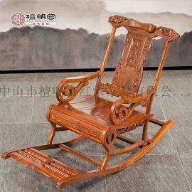 檀明宫红木家具紫檀木躺椅摇椅户外椅逍遥椅实木老人椅限时促销
