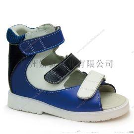 广州全真皮儿童扁平足高帮矫正凉鞋