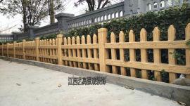 道路草坪仿木护栏,绿化仿木栅栏安装,仿木树桩围栏