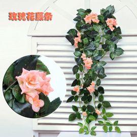 仿真绢布彩印玫瑰壁挂花串家居装饰墙体壁挂 玫瑰花藤条 藤蔓装饰