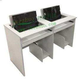 科桌双人翻转办公桌,培训中心翻转桌 液晶屏翻转桌