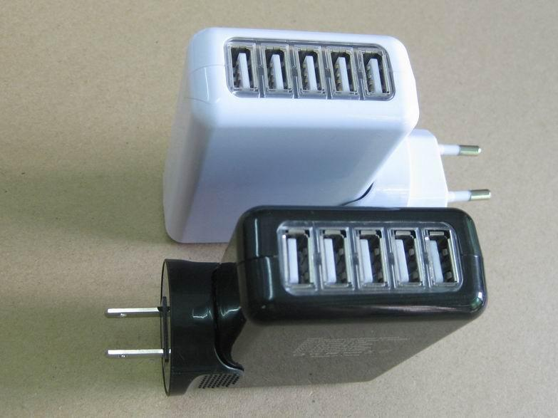 爆款供应 5个usb电源适配器 SAA UL认证5v3a电源适配器 5个usb端口适配器