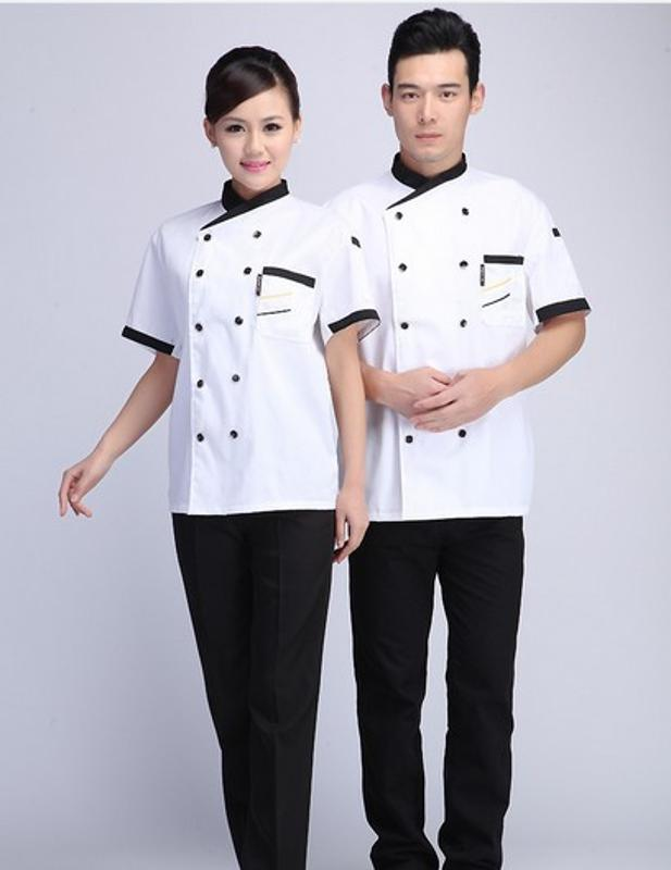 定製酒店裝短袖夏裝雙排扣廚師服裝工作服白色時尚工裝定製LOGO